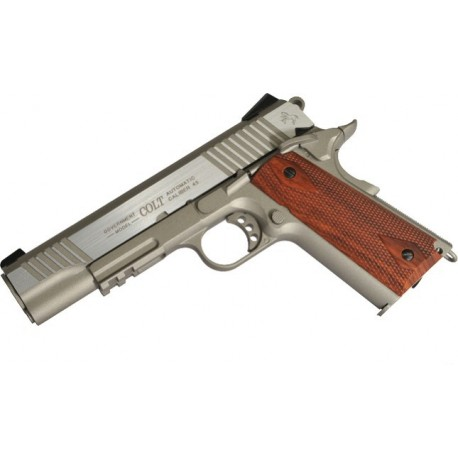 Softgun pistol Cybergun Colt 1911 Rail Gun Stainless GBB Co2