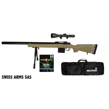 Airsoft sniper Swiss Arms SAS 04 Tan Manuel
